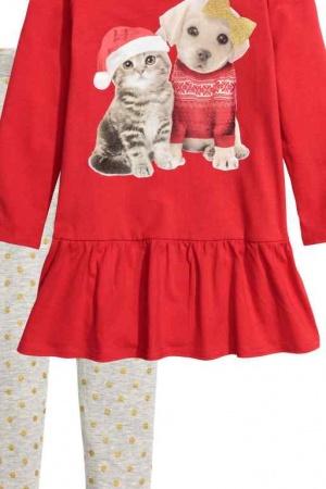 Красное платье и леггинсы для девочки от H&M (Швеция) - H&M HM0331-cl-134/140