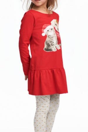 Красное платье и леггинсы для девочки от H&M (Швеция) - H&M HM0331-cl-134/140 #2