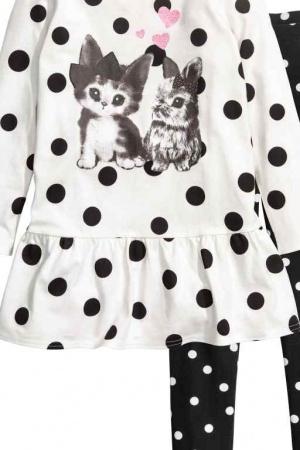 Стильное платье и леггинсы для девочки от H&M (Швеция) - H&M HM0333-cl-134/140