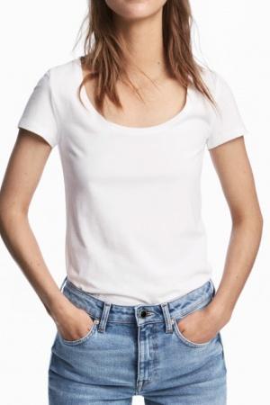 Белая женская футболка от H&M (Швеция) - H&M HM0360-cl-M