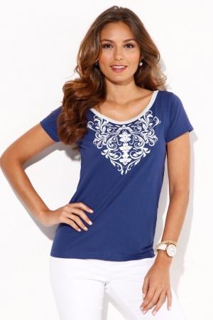 Синяя женская футболка от Venca Испания  - Venca MG0024-cl-S
