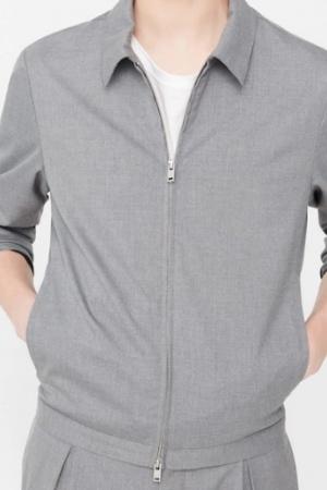 Серая мужская куртка- бомбер от Mango  - Mango MNG0305-cl-XL