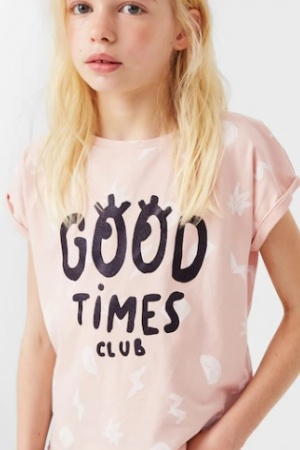 Розовая футболка для девочки Mango (Испания) - Mango MNG0313-cl-7-8