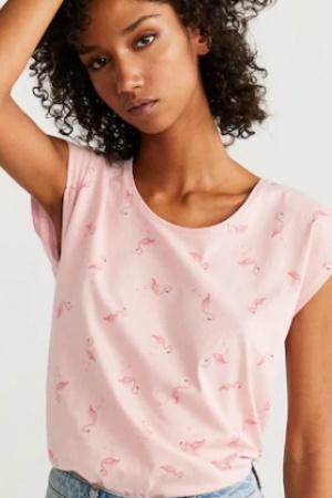 Красивая женская футболка с фламинго от Манго (Испания) - Mango MNG0391-cl-S