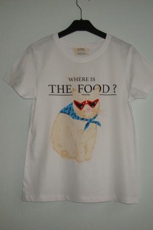 Ультрамодная женская футболка с котом от Пул&Бир - Пул&Бир PB0401-cl-S