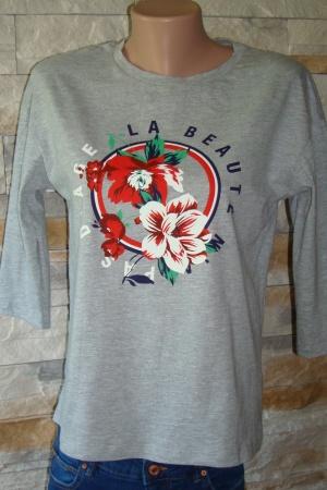 Серый женский реглан с цветком от Страдивариус - Страдивариус Str0262-cl-L