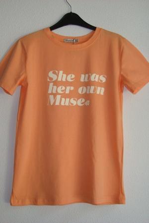 Персиковая женская футболка от Страдивариус (Испания) - Страдивариус Str0378-cl-S