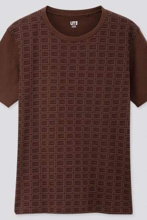 Женская футболка с шоколадным принтом Uniqlo Япония - Uniqlo UN0017-cl-XS