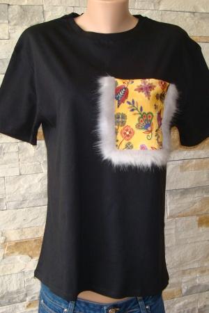 Женская футболка с меховым карманом от Зара (Испания) - Зара ZR0433-w-cl-M