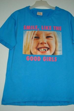 Голубая футболка с принтом для девочки от Зара  - Зара ZR0549-cl-128