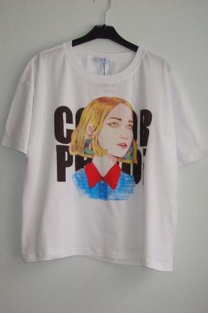 Женская модная футболка с ярким принтом от Зара (Испания) - Зара ZR0586-cl-S