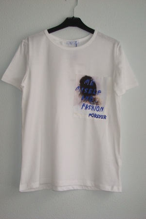 Белая женская футболка от Зара  - Зара ZR0590-cl-M