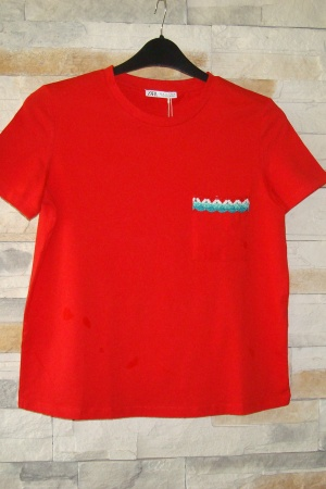 Красная женская футболка Зара - Испания - Зара ZR0671-cl-S