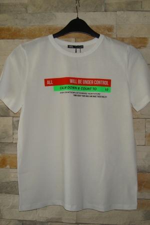 Белая женская футболка Зара Испания - Зара ZR0673-cl-S